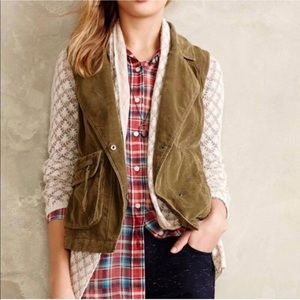 Anthropologie Marrakech Green Corduroy Vest M